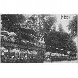 carte postale ancienne 92 BOULOGNE SUR SEINE. Terrasse Brasserie Restaurant Beillard Route ceinture du Lac pour Expo de 1931