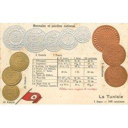 Monnaies et Pavillon national. Le Franc tunisien vers 1900. Représentation des pièces d'époque sur carte postale ancienne