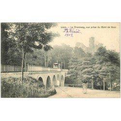 carte postale ancienne 02 LAON. Train Tramway Viaduc du Chemin de Fer Mont de Vaux 1907
