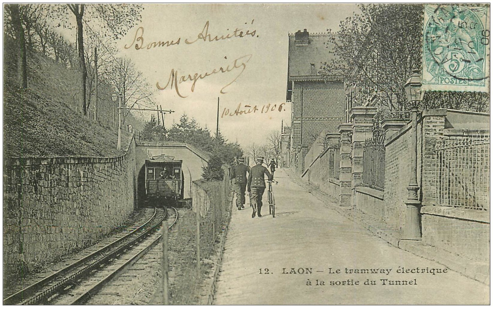02 laon tramway lectrique sortie du tunnel 1906 carte for Bureau 02 laon