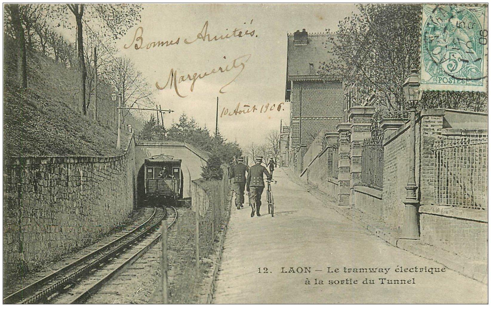 02 laon tramway lectrique sortie du tunnel 1906 carte for Bureau 02 laon