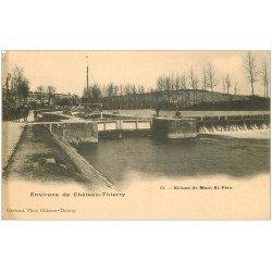 carte postale ancienne 02 MONT-SAINT-PERE. Ecluse et Péniche. Carte Pionnière vers 1900 vierge