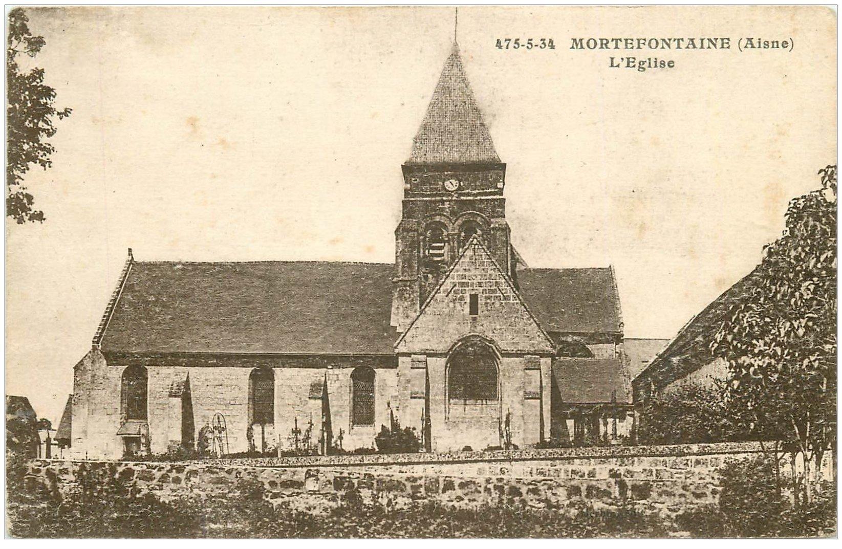 carte postale ancienne 02 MORTEFONTAINE. Eglise et Cimetière 1957