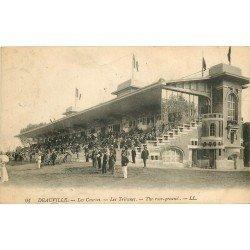 carte postale ancienne 14 DEAUVILLE. Hippodrome. Pesage et Tribunes 1921