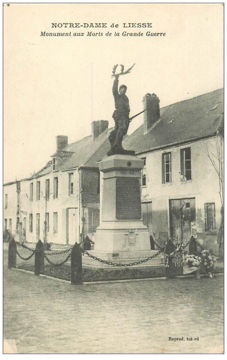 carte postale ancienne 02 NOTRE-DAME-DE-LIESSE. Monument aux Morts de la Grande Guerre