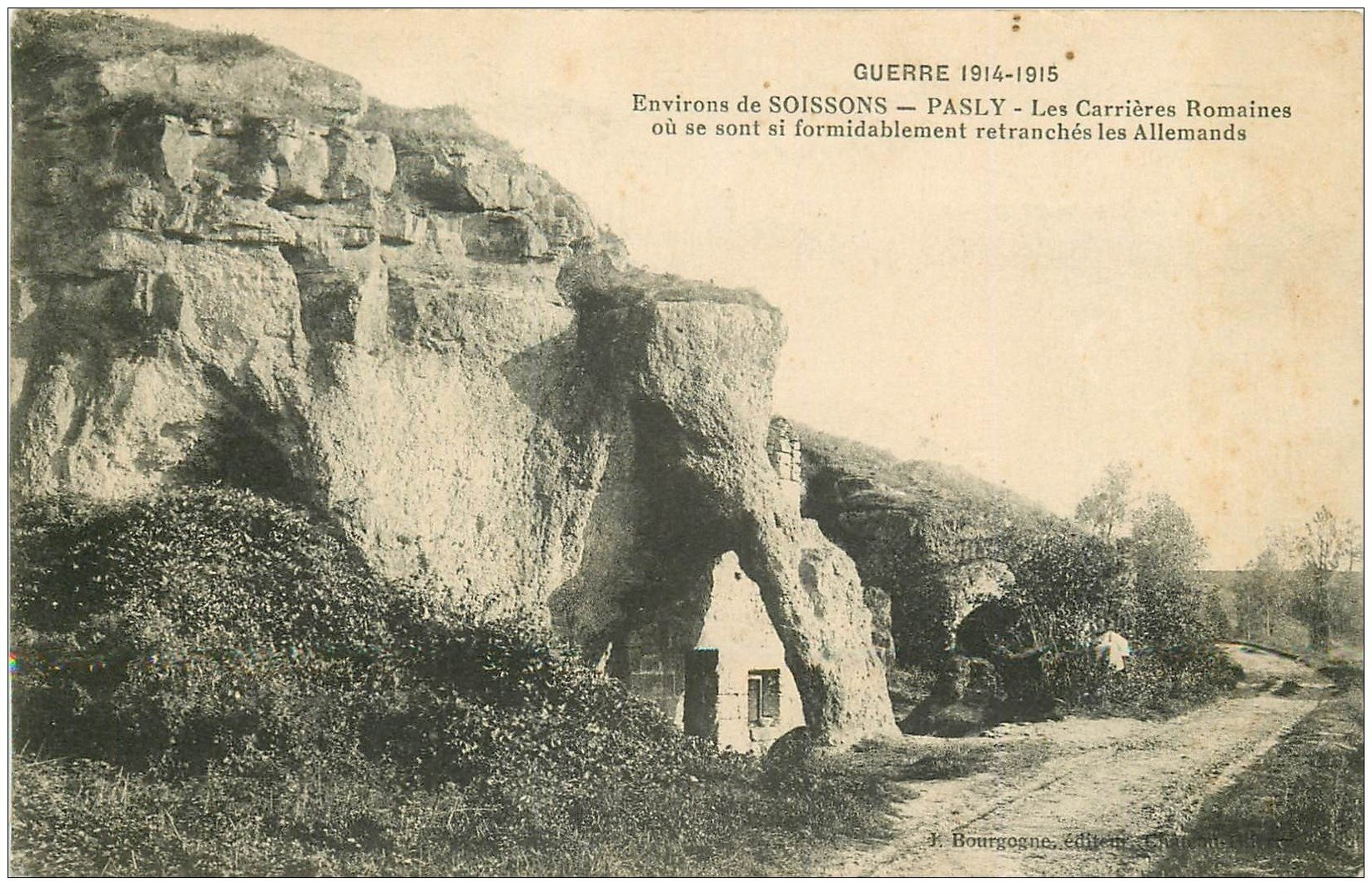 carte postale ancienne 02 PASLY. Carrières Romaines