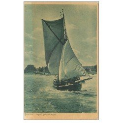 carte postale ancienne 14 TROUVILLE. Bateau départ pour la Pêche 1906. Métiers de la Mer