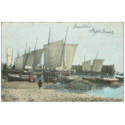 carte postale ancienne 14 TROUVILLE. Bel-Air. Barques de Pêcheurs 1904. Métiers de la Mer