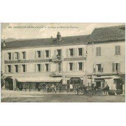 carte postale ancienne 01 Chatillon-de-Michaille. Place et Hôtel des Touristes