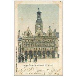 carte postale ancienne 02 SAINT-QUENTIN. Hôtel de Ville 1903. Epreuve avec Jumelle Bellieni et Plaque Lumière...