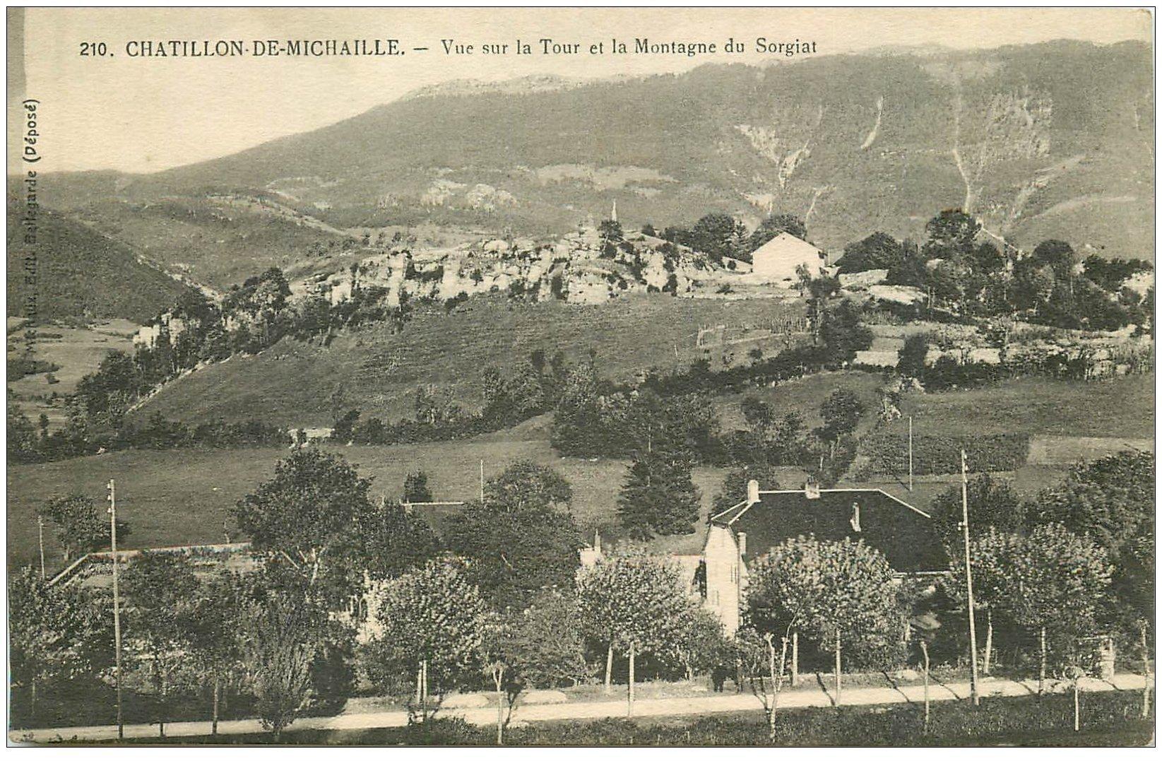 carte postale ancienne 01 Chatillon-de-Michaille. Tour et Montagne du Sorgiat