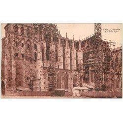 carte postale ancienne 02 SAINT-QUENTIN. La Basilique en restauration 1945