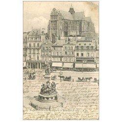 carte postale ancienne 02 SAINT-QUENTIN. La Basilique et Monument de 1557 en 1903. Billard et Café