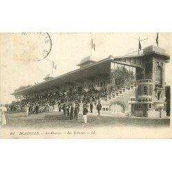 carte postale ancienne 14 DEAUVILLE. Hippodrome. Les Courses et les Tribunes 1924. Chevaux et Jockeys