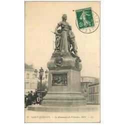carte postale ancienne 02 SAINT-QUENTIN. Monument de 1870 en 1912