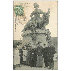 carte postale ancienne 02 SAINT-QUENTIN. Pont d'Isle Statue de l'Oise 1907
