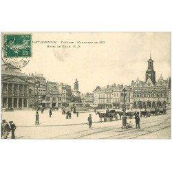 carte postale ancienne 02 SAINT-QUENTIN. Théatre et Hôtel de Ville 1907. Fiacres Taxi
