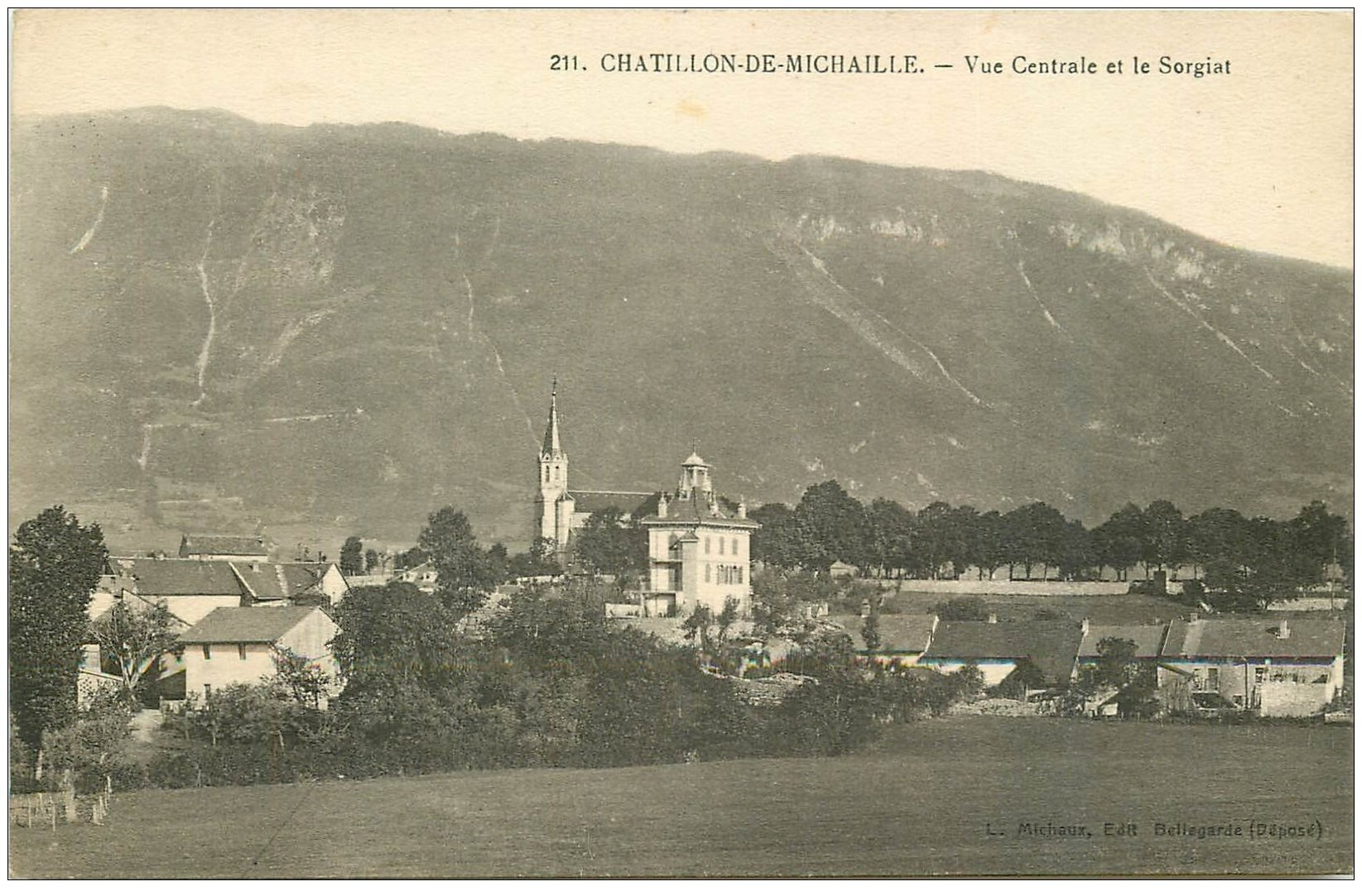 carte postale ancienne 01 Chatillon-de-Michaille. Vue Centrale et le Sorgiat