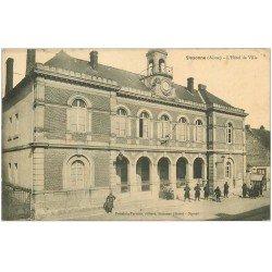 carte postale ancienne 02 SISSONNE. Hôtel de Ville 1914. Tampon Amboise tailleur à Saint-Erme