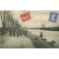 carte postale ancienne 14 CAEN. La Promenade des Etudiants 1908 jeunes Chevriers et Chèvres