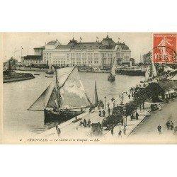carte postale ancienne 14 TROUVILLE. Casino et Touques. Timbre Taxe 1911