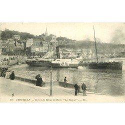 carte postale ancienne 14 TROUVILLE. Départ du Bateau du Havre La Touques LL 50 vers 1909