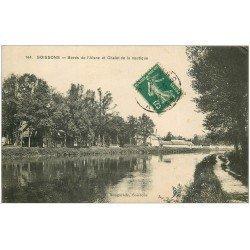 carte postale ancienne 02 SOISSONS. Chalet de la Nautique bords de L'aisne 1911