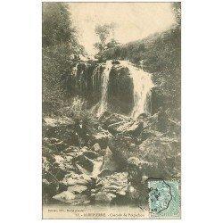 carte postale ancienne 15 ALBEPIERRE. Personnage à la Cascade de Prapechou 1906