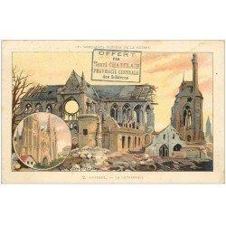carte postale ancienne 02 SOISSONS. La Cathédrale. Tampon Pharmacie Centrale