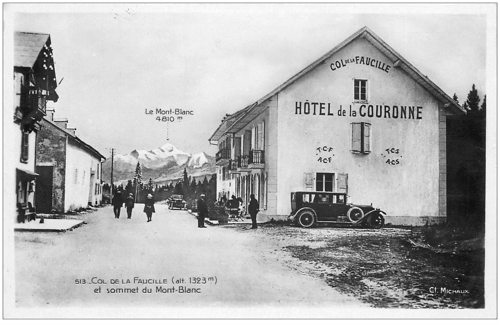 carte postale ancienne 01 Col de la Faucille. Hôtel de la Couronne. Voiture ancienne et Mont Blanc