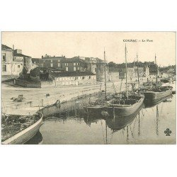 carte postale ancienne 16 COGNAC. Le Port avec Péniches et Cheval dans l'eau...