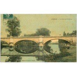 carte postale ancienne 16 COGNAC. Pêcheurs Pont de Châtenay . Superbe carte toilée 1908