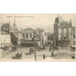 carte postale ancienne 16 COGNAC. Place François Ier et Rue d'Alger 1919