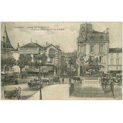 carte postale ancienne 16 COGNAC. Statue de François Ier et Rue d'Alger 1905