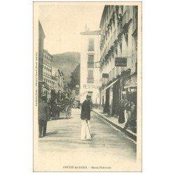 carte postale ancienne 66 AMELIE-LES-BAINS. Coiffeur Laporte Route Nationale 1904