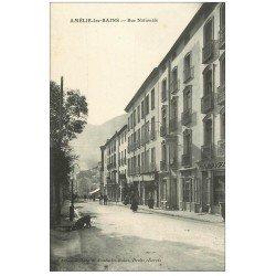 carte postale ancienne 66 AMELIE-LES-BAINS. Hôtel Rue Nationale
