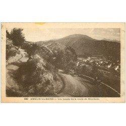 carte postale ancienne 66 AMELIE-LES-BAINS. Lacets Route de Montbolo 1947 animation