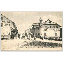 carte postale ancienne 01 Col de la Faucille. Hôtel Garage et Diligence. Tricycle Didot et Mont Blanc