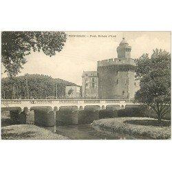 carte postale ancienne 66 PERPIGNAN. Pont, Ecluse d'Aval 1913