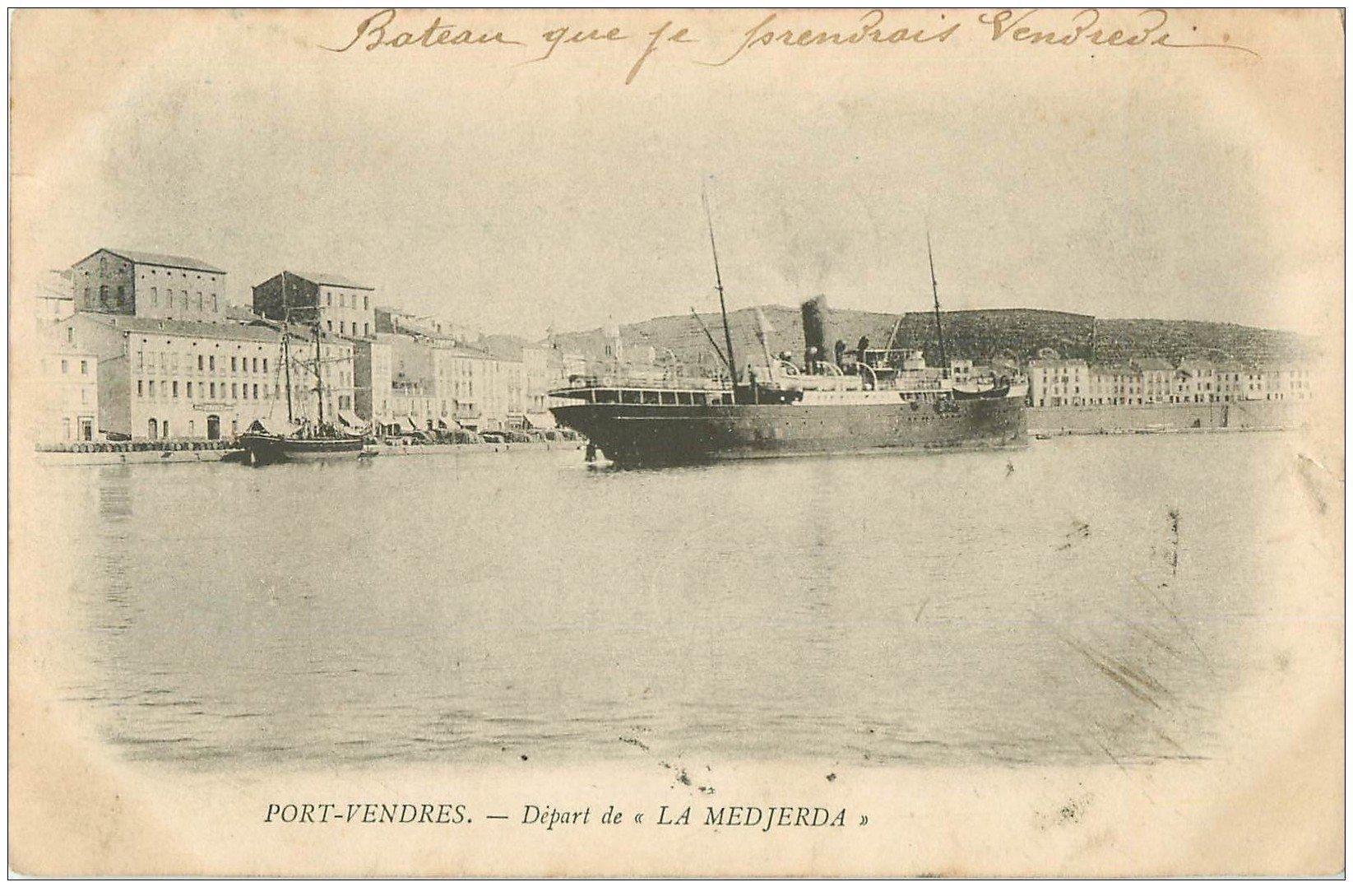 66 port vendres d 233 part de la medjerda pour oran 1904 paquebot navire