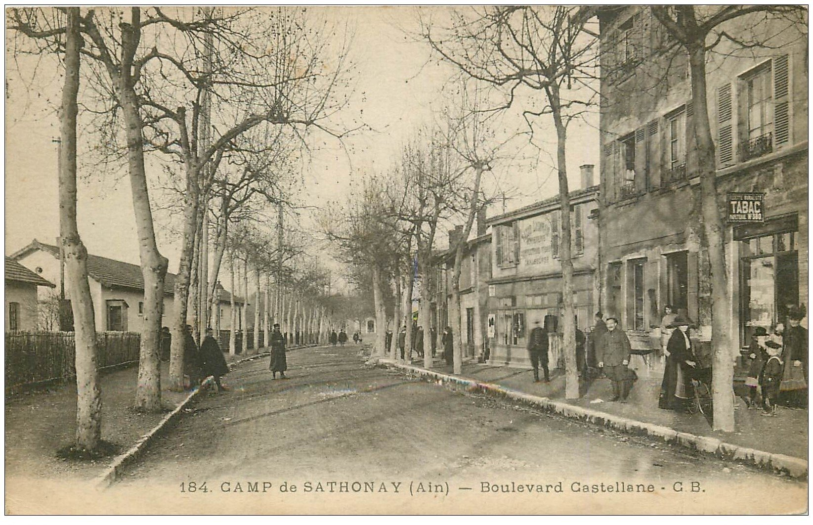 carte postale ancienne 01 Col de Sathonay. Boulevard Castellane 1916. Tabac Bazar Lyonnais
