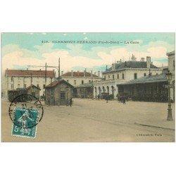 carte postale ancienne 63 CLERMONT-FERRAND. La Gare 1912
