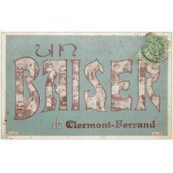 carte postale ancienne 63 CLERMONT-FERRAND. Un Baiser sur photos d'Enfants et Femmes 1907