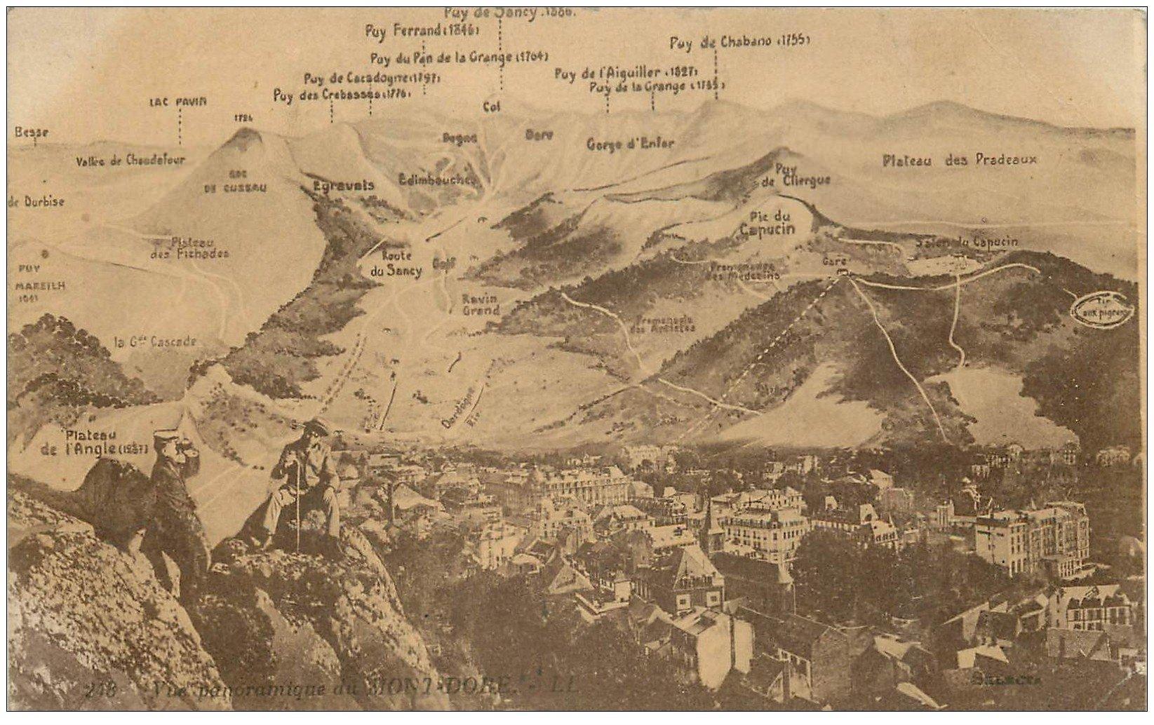 63 le mont dore vue panoramique avec alpinistes