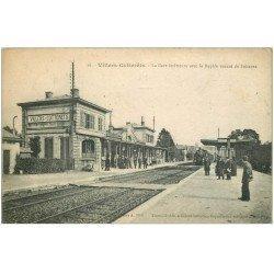 carte postale ancienne 02 VILLERS-COTTERETS. Gare et Rapide de Soissons 1918