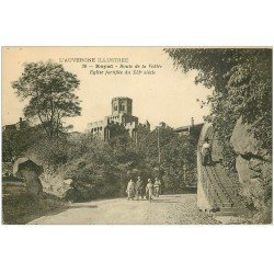 carte postale ancienne 63 ROYAT. Eglise Route de la Vallée 1921