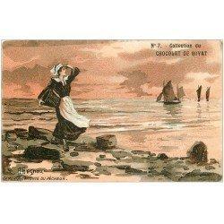 """carte postale ancienne 63 ROYAT. L'attente du Pêcheur. Collection Chocolat n° 7 par Begnou"""""""" Marquise de Sévigné """""""""""