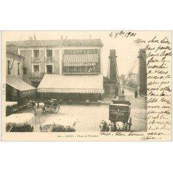 carte postale ancienne 34 AGDE. Grand Café Place Evêché 1901