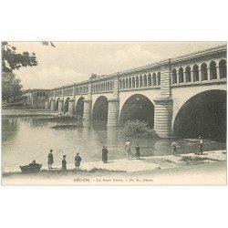 carte postale ancienne 34 BEZIERS. Le Pont Canal vers 1900 avec Pêcheurs à la ligne