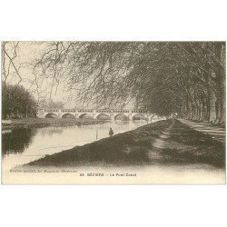 carte postale ancienne 34 BEZIERS. Pêcheur Pont-Canal